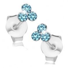 Cercei din argint 925, trei cristale Swarovski albastru deschis