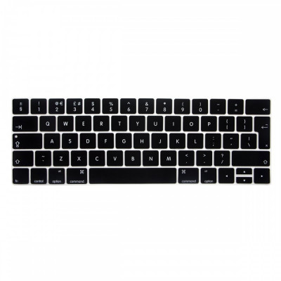 Husa protectie tastatura EU Macbook Pro 13 15 2016 2017 Touch Bar, negru foto