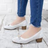 Pantofi dama Gunasi albi cu toc gros