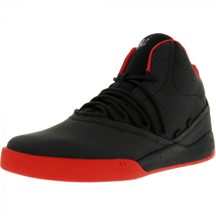 Supra barbati Estaban Black/Red/Red Ankle-High Leather Fashion Sneaker foto mare
