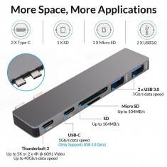 HUB Card Reader USB Type C 6 in 1 pentru Macbook Air Pro