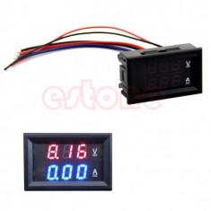 """ampermetru voltmetru digital afisaj lcd 0.28"""" dublu rosu albastru 10A DC 0-100"""