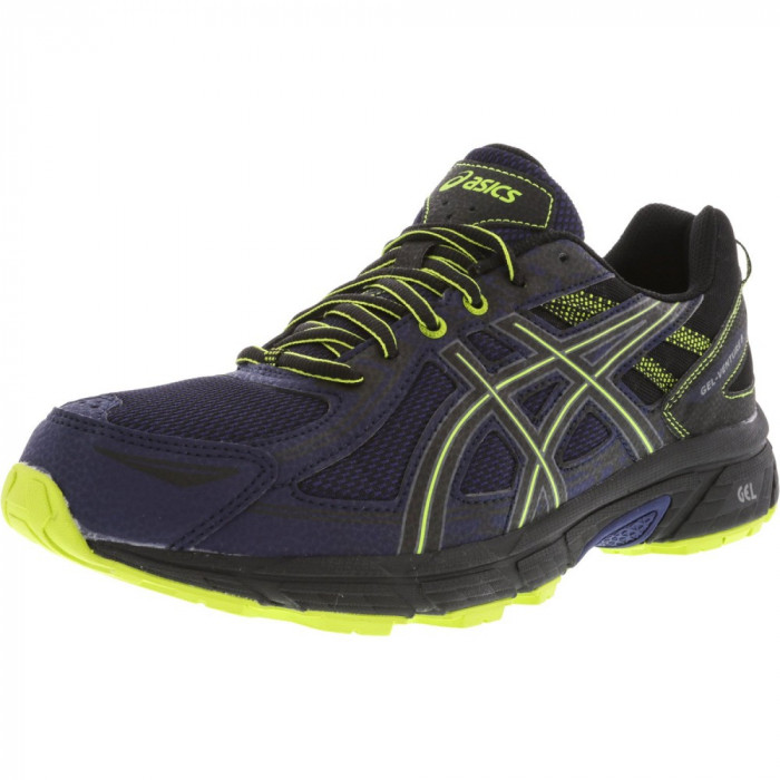 Asics barbati Gel-Venture 6 Indigo Blue / Black Energy Green Ankle-High Running Shoe foto mare