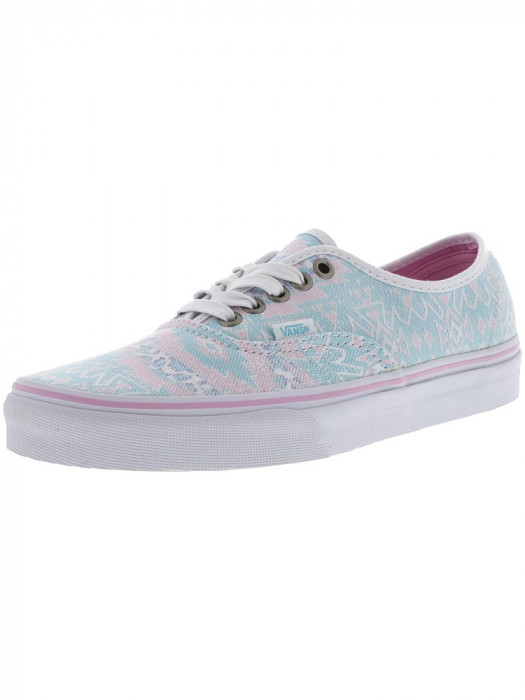 Vans Authentic Freshness Jacquard / Pink Ankle-High Canvas Skateboarding Shoe foto mare