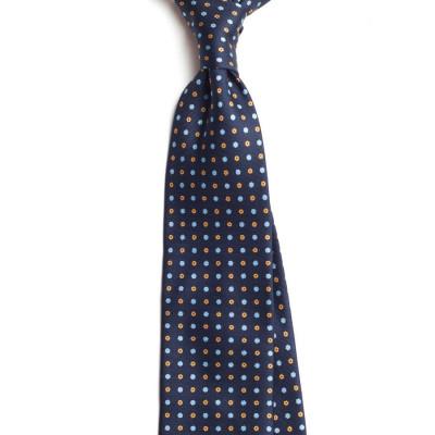 Cravata Handmade Seven Fold din Matase Naturala cu Model Floral foto