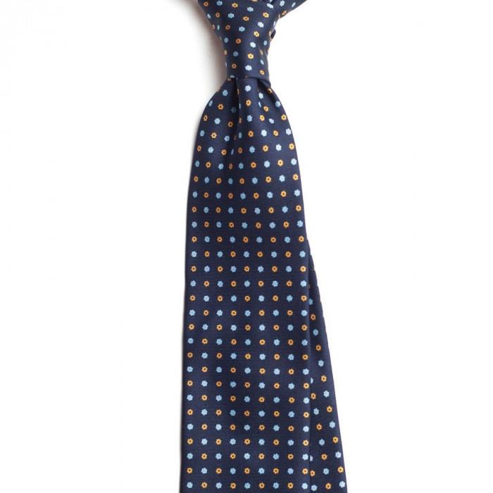 Cravata Handmade Seven Fold din Matase Naturala cu Model Floral