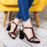 Sandale Gunsin negre cu toc gros