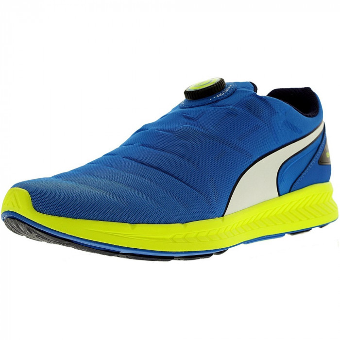 Puma barbati Ignite Disc Electric Blue/White/Safety Yellow Ankle-High Running Shoe foto mare