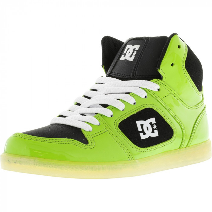 Dc barbati Union High Soft Lime / White Ankle-High Leather Skateboarding Shoe foto mare