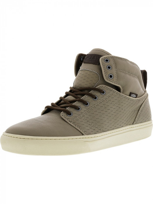 Vans barbati Alomar Perforations Khaki / Turtledove Mid-Top Leather Skateboarding Shoe foto mare