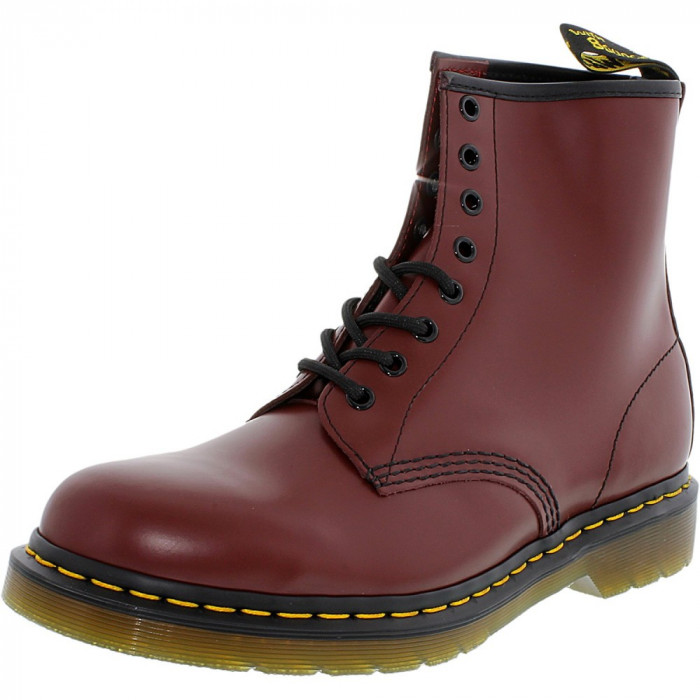 Dr. Martens barbati 1460 8-Eye Smooth Cherry Red Ankle-High Leather Boot foto mare