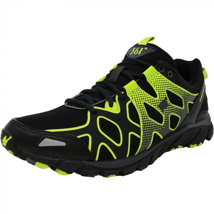 361 barbati 361-Ascent Night / Castlerock Lime Green Ankle-High Fabric Running Shoe foto mare