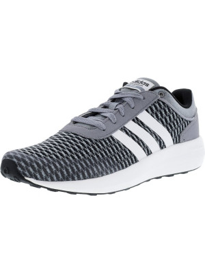 Adidas barbati Cloudfoam Race Core Black / Footwear White Grey Ankle-High Leather Running Shoe foto