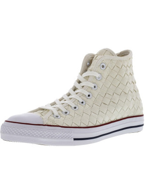 Converse Chuck Taylor All Star Hi Woven White / Red High-Top Leather Fashion Sneaker foto