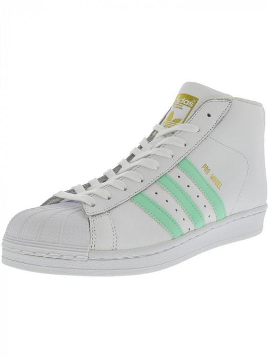 Adidas barbati Pro Model Footwear White / Easy Green Gold Metallic Mid-Top Leather Fashion Sneaker foto mare