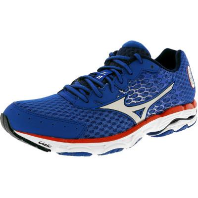 Mizuno barbati Wave Inspire 11 Blue / Sea Silver Red Ankle-High Running Shoe foto