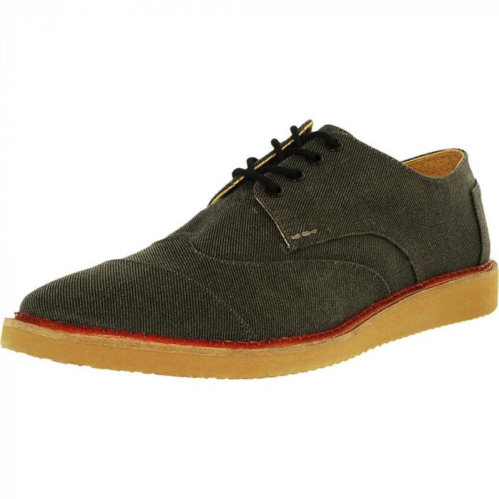 Toms barbati Brogue Twill Ash Aviator Ankle-High Canvas Fashion Sneaker foto mare