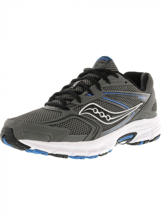Saucony barbati Grid Cohesion 9 Grey / Black Royal Ankle-High Running Shoe foto mare