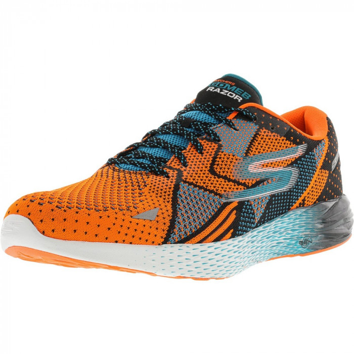 Skechers barbati Go Meb Razor Orange / Blue Ankle-High Fabric Running Shoe