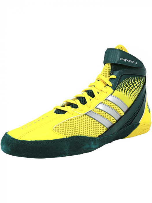 Adidas barbati Response 3.1 Forest / Metallic Silver Vivid Yellow Ankle-High Fabric Wrestling Shoe