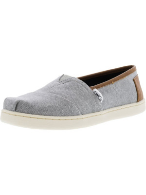 Toms Classic Chambray Frost Grey Leather Trim Ankle-High Canvas Slip-On Shoes foto