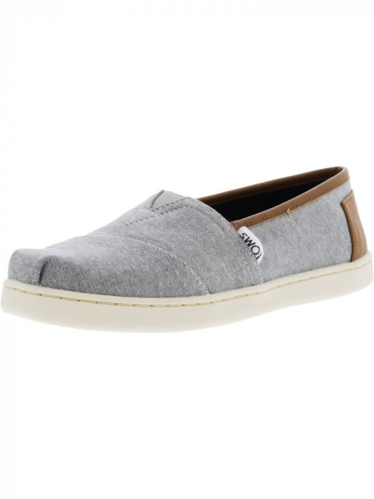 Toms Classic Chambray Frost Grey Leather Trim Ankle-High Canvas Slip-On Shoes