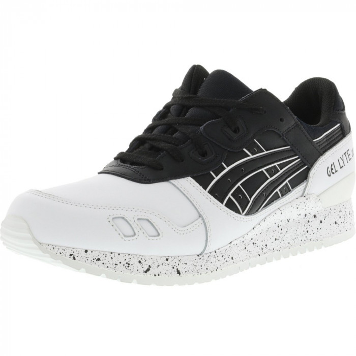 Asics barbati Gel-Lyte Iii Black / White Speckled Ankle-High Leather Running Shoe foto mare
