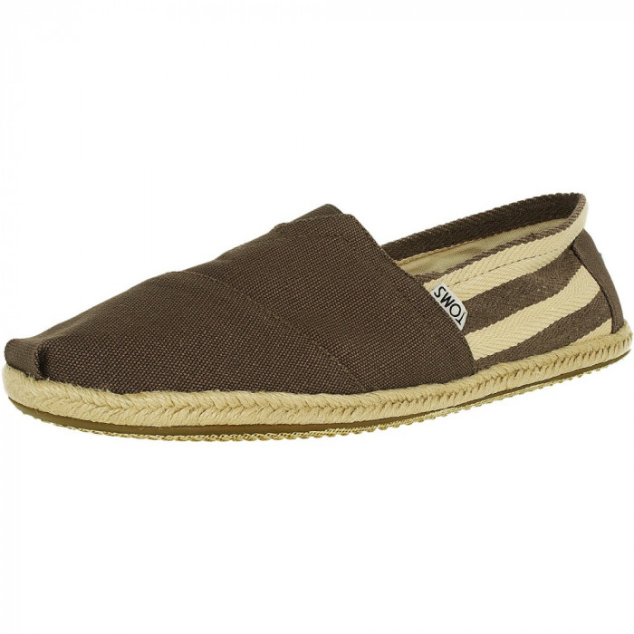 Toms barbati Classic Canvas Stripe Dark Grey University Ankle-High Flat Shoe foto mare