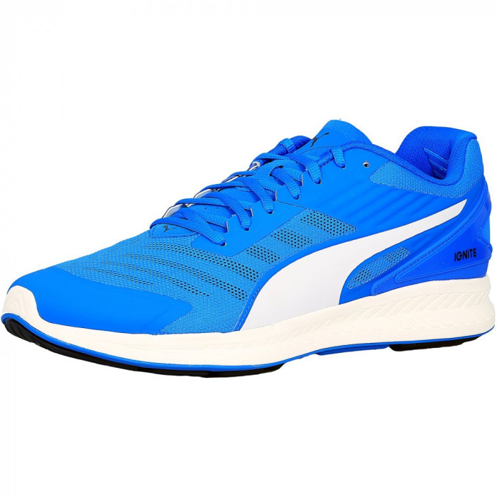 Puma barbati Ignite V2 Electric Blue / Peacoat White Ankle-High Fabric Running Shoe foto mare