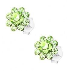 Cercei din argint 925, floare din cristale Preciosa verde deschis