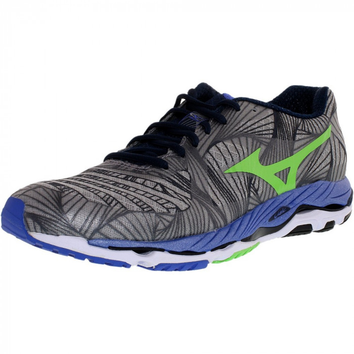 Mizuno barbati Wave Paradox Alloy/Green Flash/Dazzling Blue Ankle-High Running Shoe foto mare