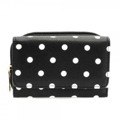 AGP1045B - Black Polka Dot Design Purse/Wallet foto