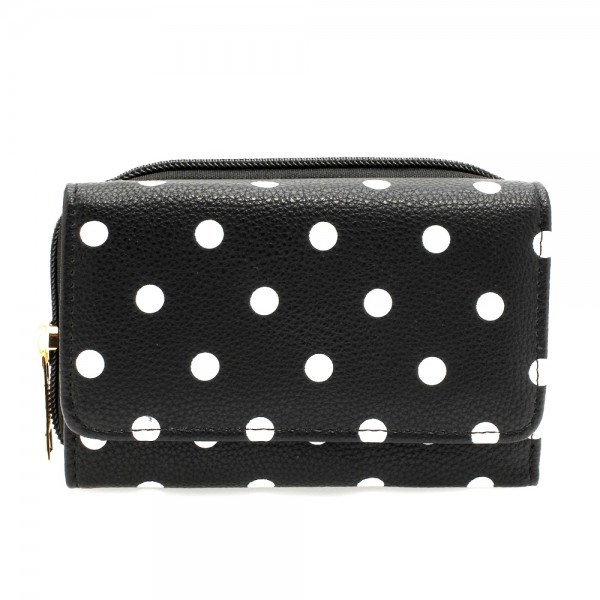 AGP1045B - Black Polka Dot Design Purse/Wallet foto mare