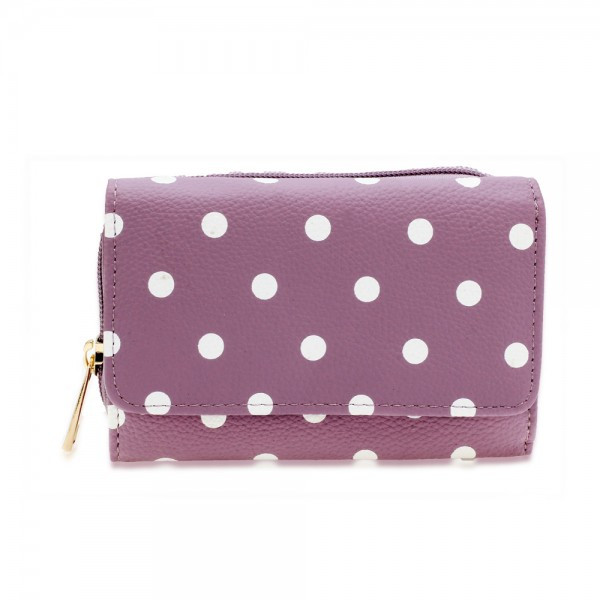 AGP1045B - Purple Polka Dot Design Purse/Wallet foto mare