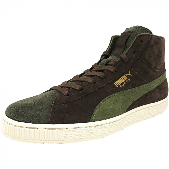 Puma barbati Mid X Bobbito Suede Chestnut / Burnt Olive Gold High-Top Fashion Sneaker foto mare