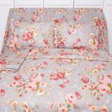 Lenjerie de pat pentru 2 persoane BonDia, Model Ania, 100% bumbac, 4 piese, Bumbac Ranforce