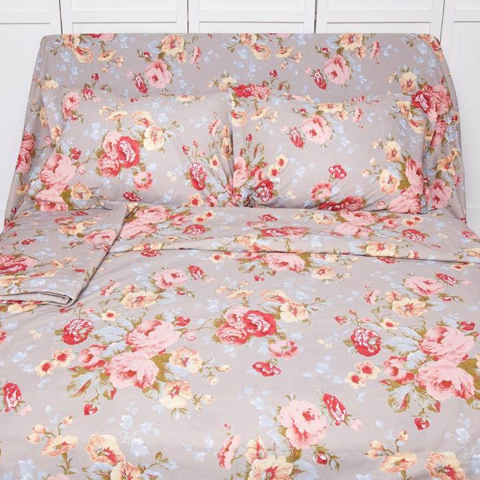 Lenjerie de pat pentru 2 persoane BonDia, Model Ania, 100% bumbac, 4 piese foto mare