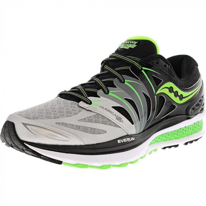 Saucony barbati Hurricane Iso 2 Black / Silver Slime Ankle-High Running Shoe foto mare
