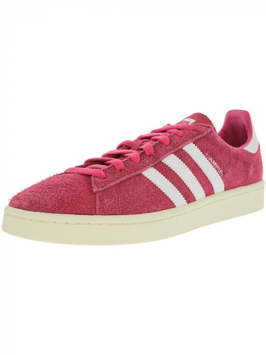 Adidas barbati Campus Semi Solar Pink / Running White Cream Ankle-High Suede Fashion Sneaker foto mare