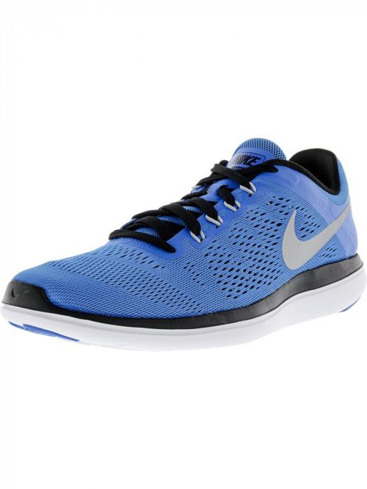 Nike barbati Flex 2016 Rn Photo Blue / Metallic Silver Ankle-High Running Shoe