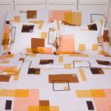 Lenjerie de pat pentru 2 persoane BonDia, Model Niabi, 100% bumbac, 4 piese, Bumbac Ranforce