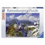 Puzzle castelul neuschwanstein iarna 3000 piese, Ravensburger