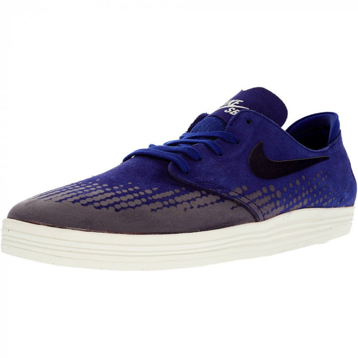Nike barbati Lunar Oneshot Deep Royal Blue/Obsidian/Summit White Ankle-High Skateboarding Shoe foto mare
