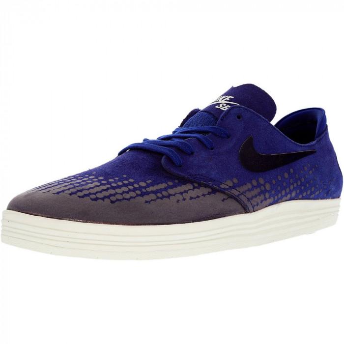 Nike barbati Lunar Oneshot Deep Royal Blue/Obsidian/Summit White Ankle-High Skateboarding Shoe foto mare