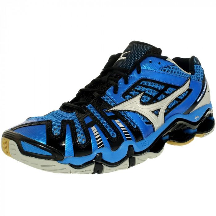 Mizuno barbati Wave Tornado 8 Blue/Silver/Black Low Top Leather Indoor Court Shoe foto mare