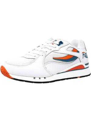 Fila barbati Overpass White / Red Orange Biscay Bay Ankle-High Fashion Sneaker foto