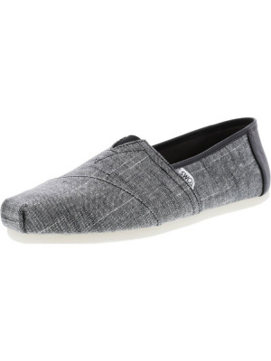 Toms barbati Classic Textured Chambray Black Trim Ankle-High Fabric Slip-On Shoes foto
