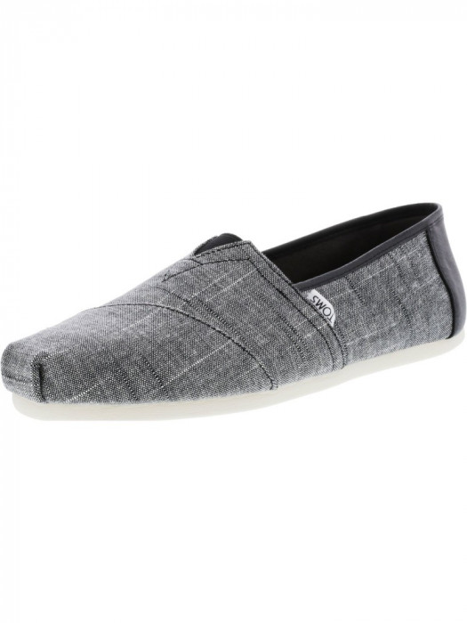 Toms barbati Classic Textured Chambray Black Trim Ankle-High Fabric Slip-On Shoes foto mare