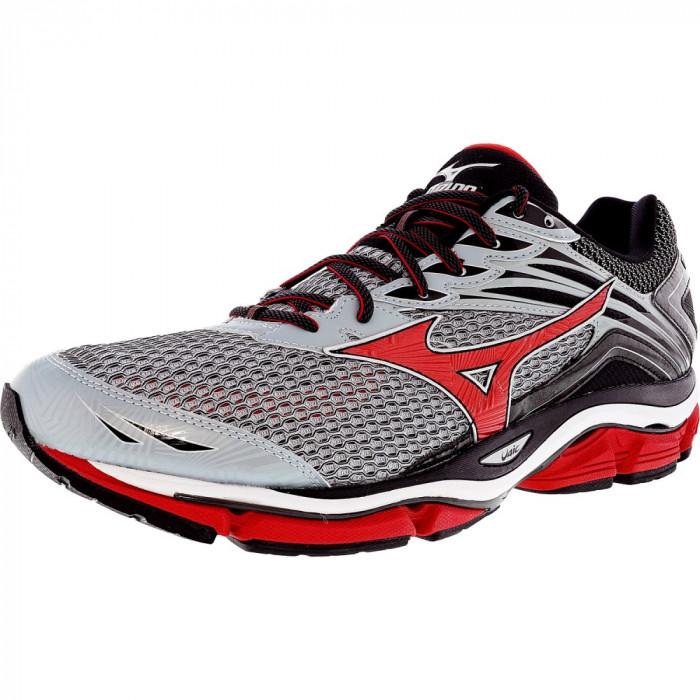 Mizuno barbati Wave Enigma 6 Grey / Red Black Ankle-High Running Shoe foto mare