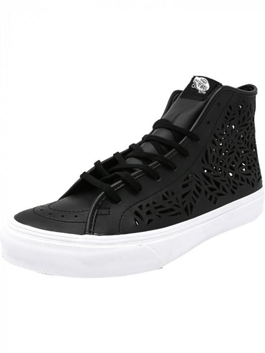 Vans Sk8-Hi Decon Cut-Out Leaves / Black Mid-Top Leather Fashion Sneaker foto mare